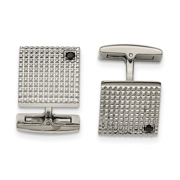 1f9fadc3a4 Shop Stainless Steel Polished Texture Black CZ Cuff Links - On Sale - Free  Shipping Today - Overstock.com - 23476951