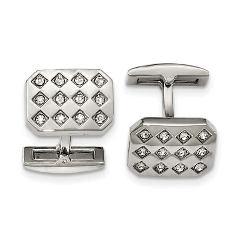 Chisel Stainless Steel Polished CZ Cuff Links