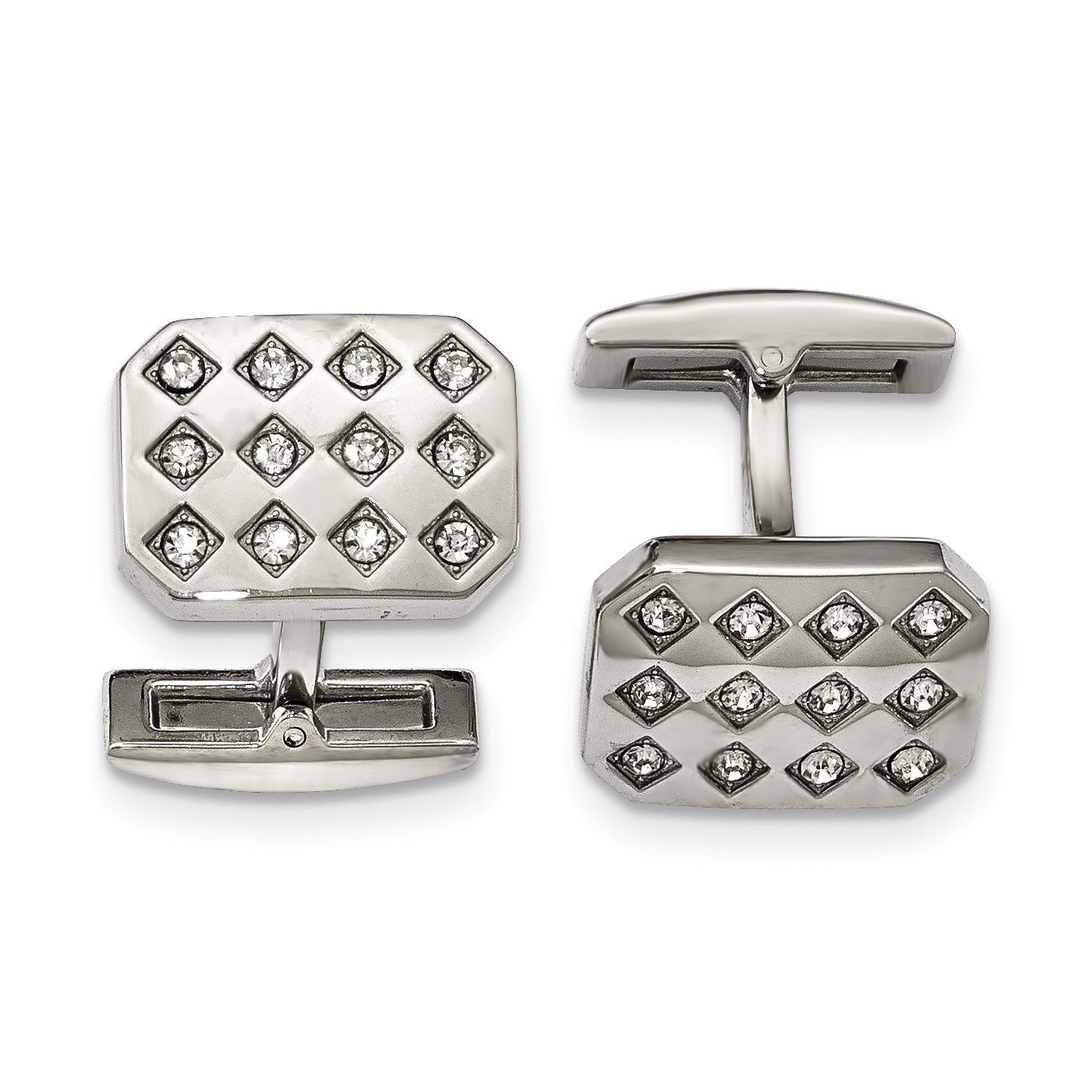 .925 Silver Black /& Clear CZ Modern Men/'s Cufflinks