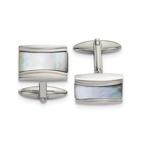Chisel Stainless Steel Polished Rectangle Mother of Pearl Cuff Links
