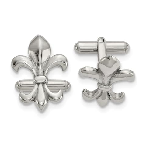 Chisel Stainless Steel Polished Fleur De Lis Cuff Links