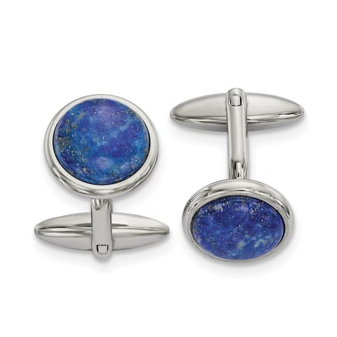 Chisel Stainless Steel Polished Lapis Cuff Links