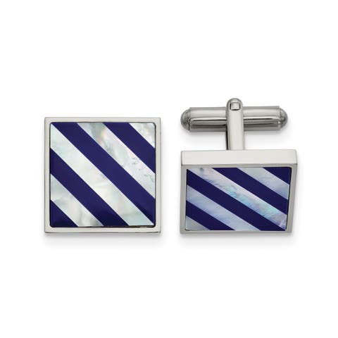 Chisel Stainless Steel Polished with Mother of Pearl and Blue Shell Inlay Cuff Links