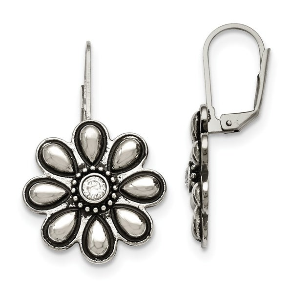 Chisel Stainless Steel Polished Antiqued Cz Flower Leverback Earrings