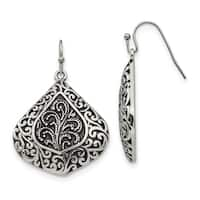Chisel Stainless Steel Polished/Antiqued Shepherd Hook Earrings