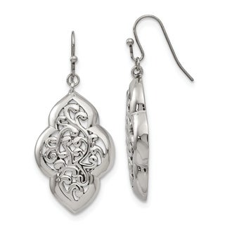 Large Pewter Ring Feature Drop Earrings-Stainless Steel Hooks