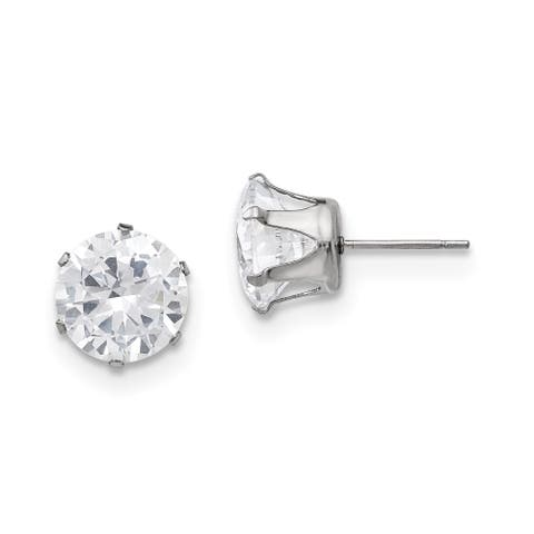 Chisel Stainless Steel Polished 10mm Round CZ Stud Post Earrings
