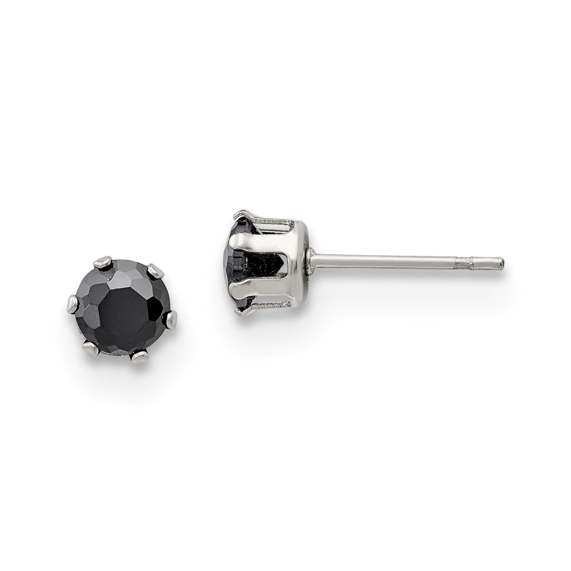 Stainless Steel Polished 5mm Round CZ Stud Post Earrings