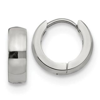 Chisel Stainless Steel Polished 4.0mm Hinged Hoop Earrings