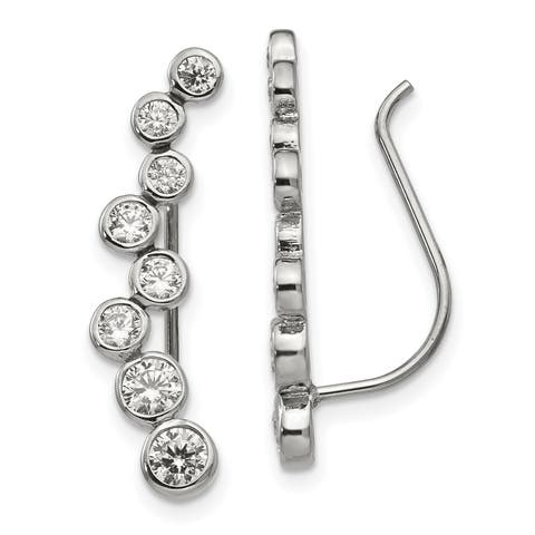 Chisel Stainless Steel Polished with CZ Ear Climbers
