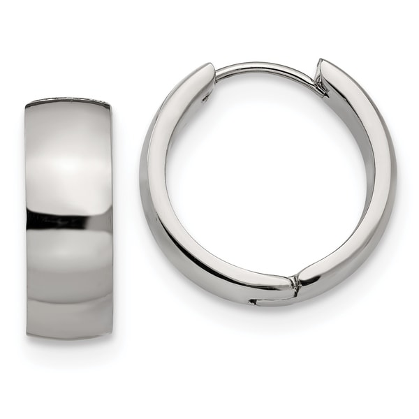 Chisel Stainless Steel High Polished 7mm Hinged Hoop Earrings. Opens flyout.