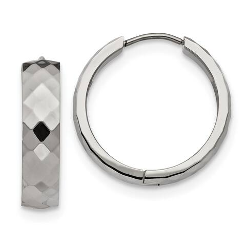 Chisel Stainless Steel Polished and Textured Hinged Hoop Earrings