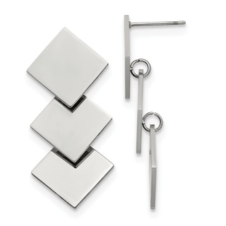 Chisel Stainless Steel Polished Squares Post Dangle Earrings