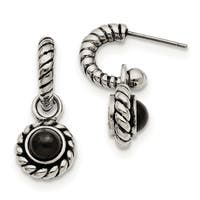 Chisel Stainless Steel Reversible Cubic Zirconia and Black Onyx Post Earrings