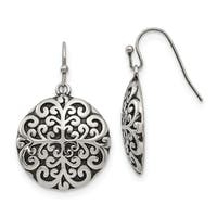 Chisel Stainless Steel Polished and Antiqued Circle Dangle Earrings
