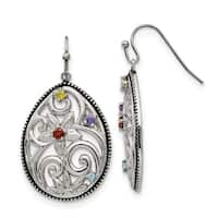 Chisel Stainless Steel Polished and Antiqued Multicolor CZ Earrings