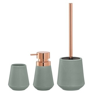 Sealskin 3-Piece Bathroom Accessories Set Conical Copper Green Porcelain
