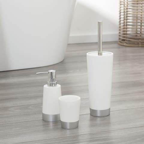 Sealskin 3-Piece Bathroom Accessories Set Glossy White And Silver Polyresin