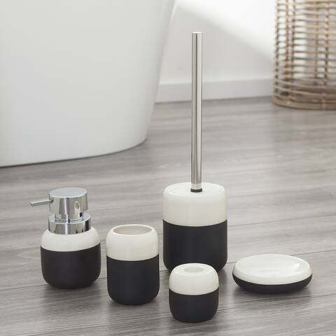 Sealskin 5-Piece Bathroom Accessories Set Sphere Black And White Porcelain