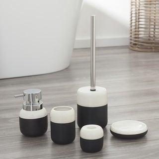 Sealskin 5-Piece Bathroom Accessories Set Sphere Black And White Porcelain