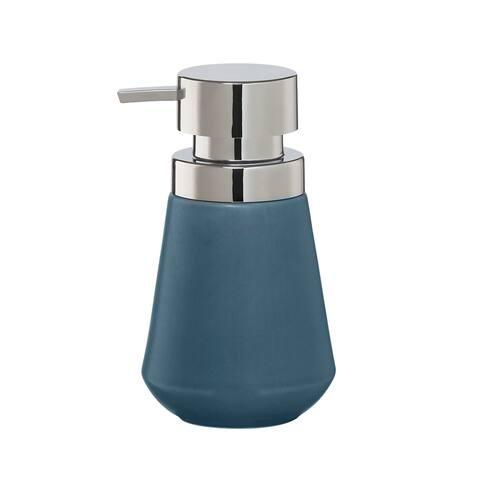 Sealskin Countertop Soap And Lotion Dispenser Conical Chrome Blue Porcelain