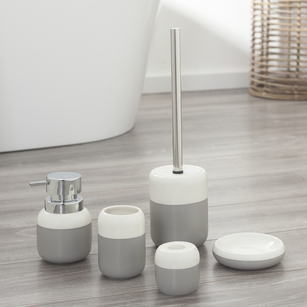 Bathroom Accessories Set Sphere Gray