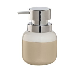 Sealskin Countertop Soap And Lotion Dispenser Sphere Beige And White Porcelain