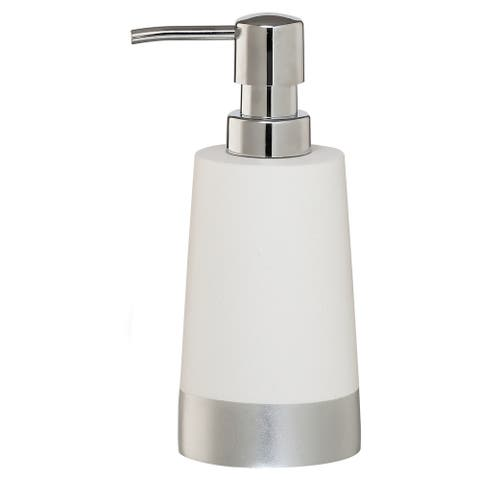 Sealskin Countertop Soap And Lotion Dispenser Glossy White And Silver Polyresin