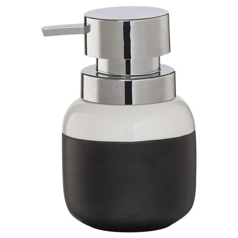 Sealskin Countertop Soap And Lotion Dispenser Sphere Black And White Porcelain