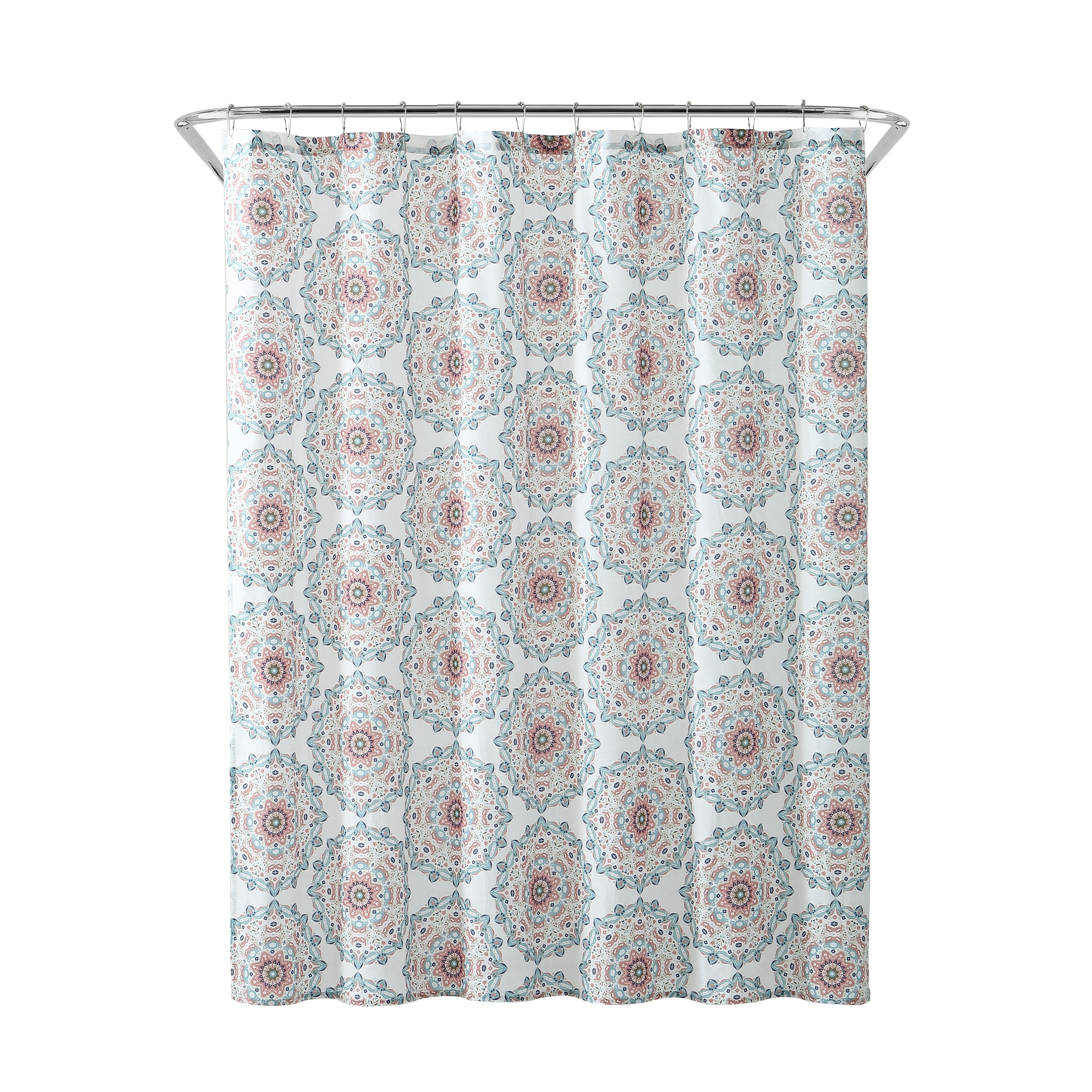Shop Black Friday Deals On Peach Oak Tribal Medallion Shower Curtain Overstock 23477430