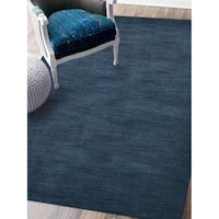 Hand Knotted Loom Wool Solid Area Rug Blue