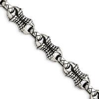 Chisel Stainless Steel Antiqued Patterned Bracelet