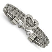 Chisel Stainless Steel Polished Heart with CZ Bracelet
