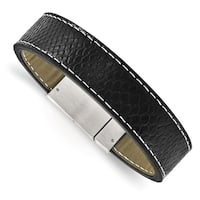 Chisel Stainless Steel Brushed Black Leather Bracelet
