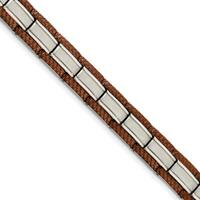 Chisel Stainless Steel Brown IP-plated 8.75 Inch Bracelet