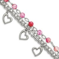 Chisel Stainless Steel Pink Agate with Hearts Bracelet