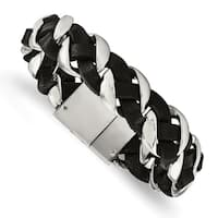 Chisel Stainless Steel Polished Leather Braided Bracelet