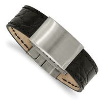 Chisel Stainless Steel Brushed Black Leather ID Bracelet