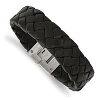 Chisel Stainless Steel Brushed Black Leather 8.5 Inch Bracelet