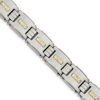 Chisel Stainless Steel Polished with 14 Karat Gold Diamond Cut Link Bracelet