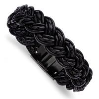 Chisel Stainless Steel Black Leather and Black IP-plated Bracelet