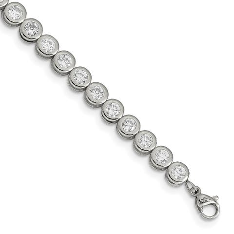 Chisel Stainless Steel Polished CZ Tennis with 1 Inch Extension Bracelet - china