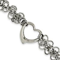 Chisel Stainless Steel Polished Circles with Heart 7.5 Inch Bracelet - china