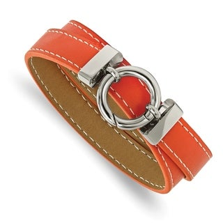Chisel Stainless Steel Polished Orange Leather Wrap Bracelet