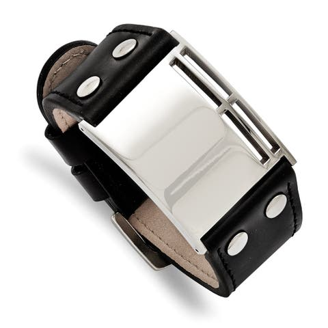 Chisel Stainless Steel Polished 9.25 Inch Black Leather Buckle Bracelet