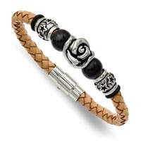 Chisel Stainless Steel Light Tan Leather with Beads 7.5 Inch Bracelet - china