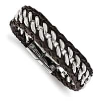 Chisel Stainless Steel Polished Brown Leather 8.5 Inch Bracelet