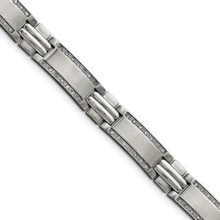 Chisel Stainless Steel Polished/Brushed 1 cttw Diamond Bracelet - china