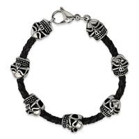 Chisel Stainless Steel Polished Antiqued Leather Skull Bracelet - china
