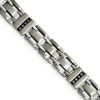 Chisel Stainless Steel Brushed and Polished Black CZ Link Bracelet - china